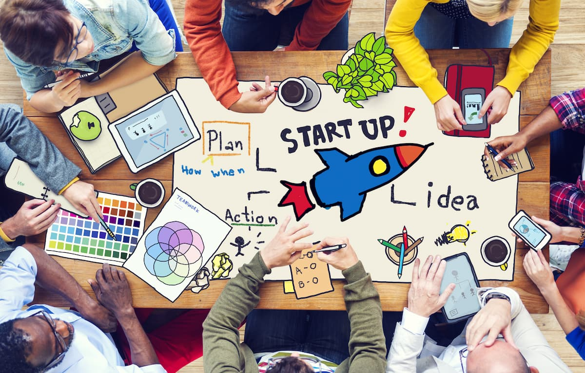 Startup on table brainstorm